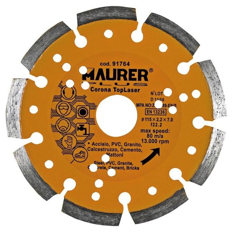 Diamond Maurer Segmented Laser Steel, PVC, Concrete, Granite 115mm.
