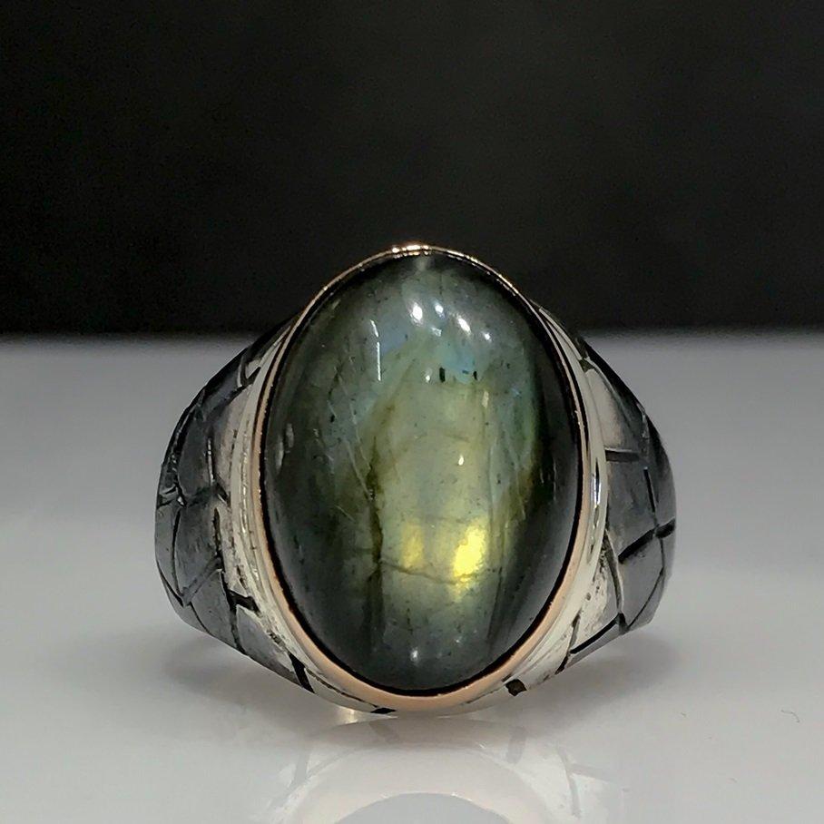 Labrodorite Stone Custom Design Hand Generation Silver Men 'S Ring
