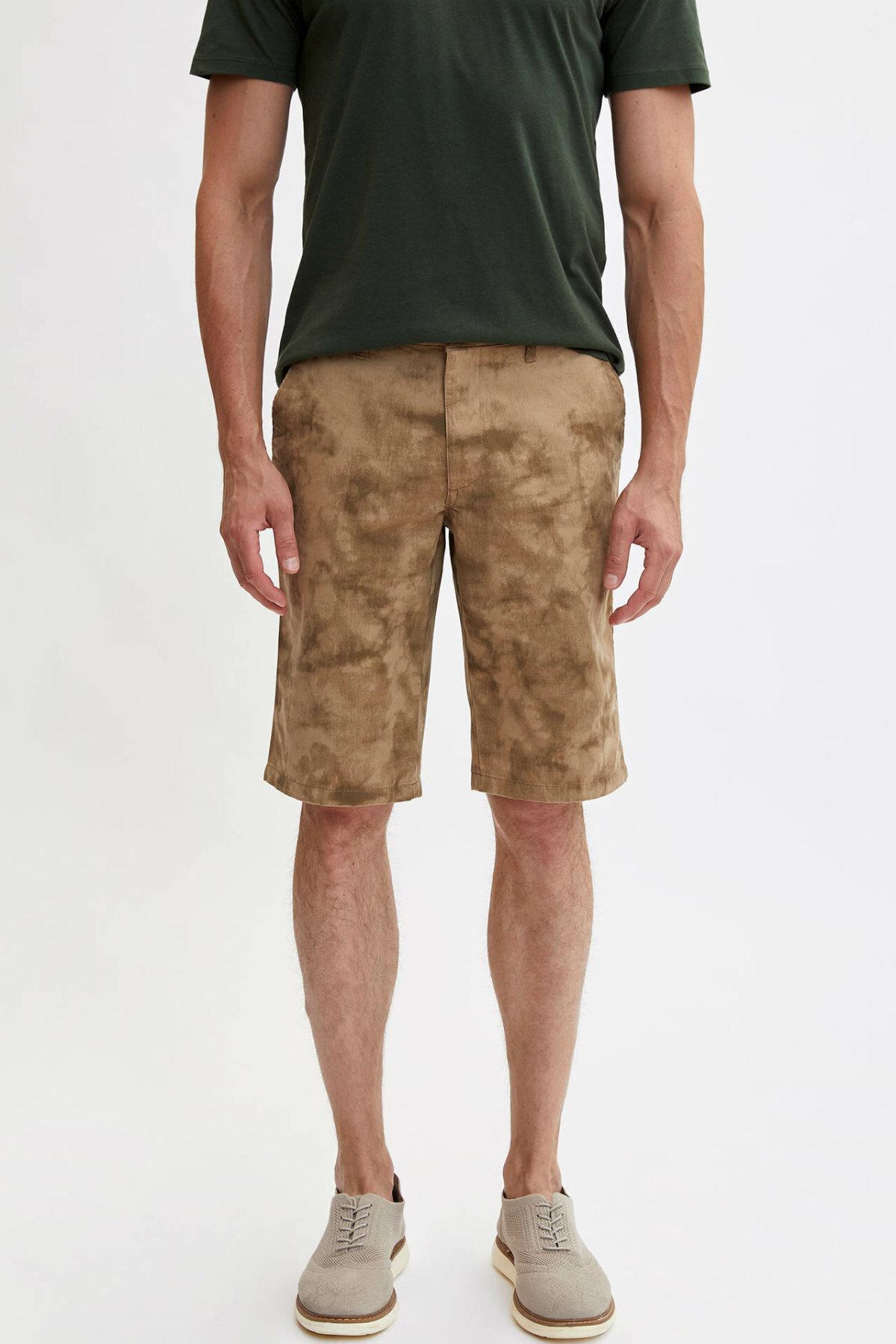 DeFacto Man Summer Beige Color Casual Shorts Men Mid-waist Short Bottoms Male Loose Bermuda Shorts-L6059AZ19SM