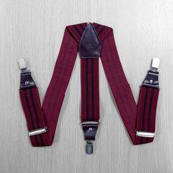 Подтяжки для брюк широкие, натуральная кожа (3.5 см, 3 клипсы, Бордовый, полоска) 54752