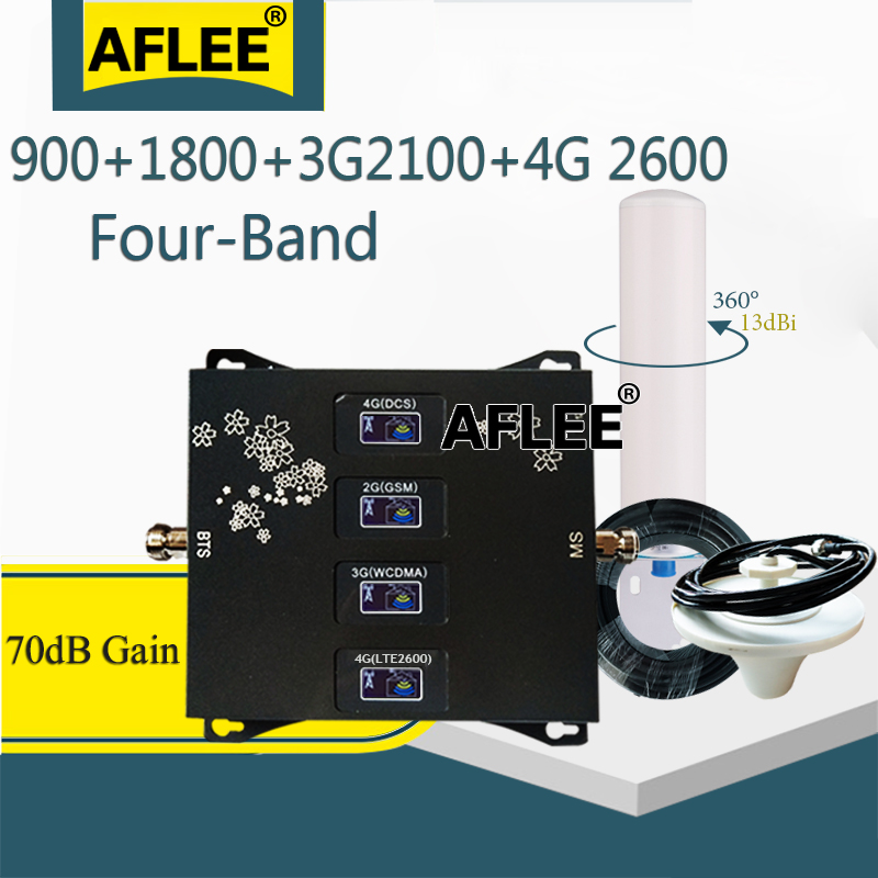 New!!900 1800 2100 2600 Mhz Four-Band Cellular Amplifier Cell Phone GSM Repeater 2G 3G 4G Signal Booster GSM DCS WCDMA LTE Set