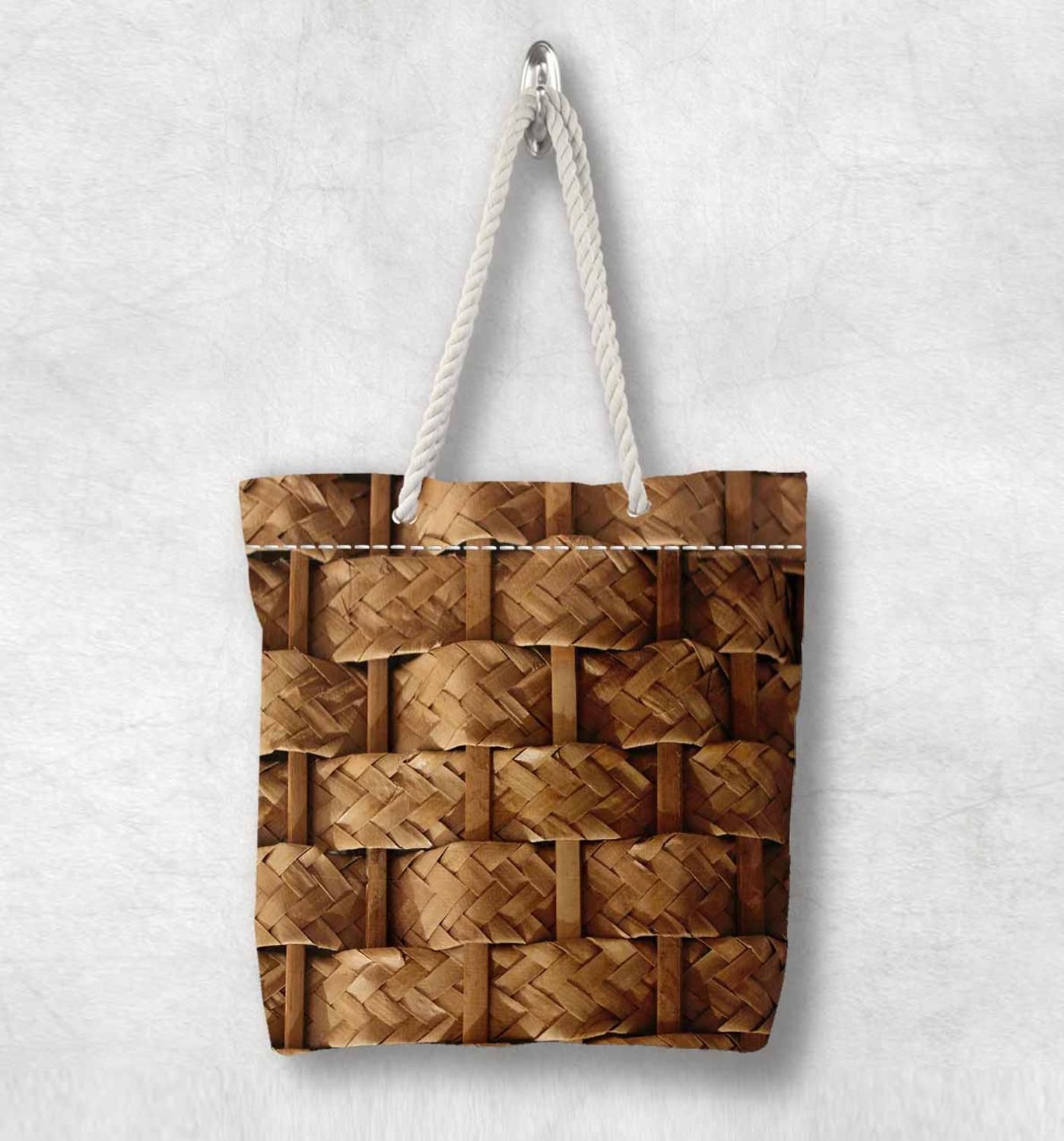 Else Brown Wicker Bamboo Floral New Fashion White Rope Handle Canvas Bag Cotton Canvas Zippered Tote Bag Shoulder Bag