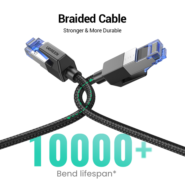UGREEN Ethernet Cable CAT8 40Gbps 2000MHz CAT 8 Networking Cotton Braided Internet Lan Cord for Laptops PS 4 Router RJ45 Cable 6