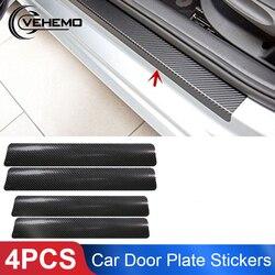 Vehemo 4 шт. черные наклейки на дверные панели автомобиля из углеродного волокна Автомобильная наклейка на порог прикрытие потертостей против ...