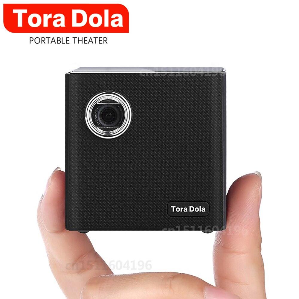 Mini projecteur DLP de cabine de TORA C80, WIFI d'android 7.1.2OS pour le cinéma à la maison, vidéoprojecteur LED portatif de projecteur HD avec la batterie