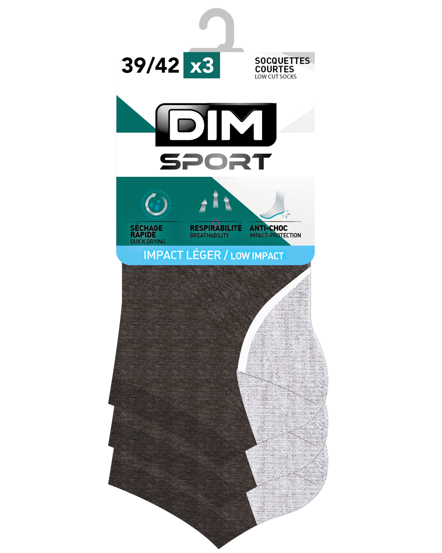 DIM Pack of 3 invisible Men\'s ankle socks-2