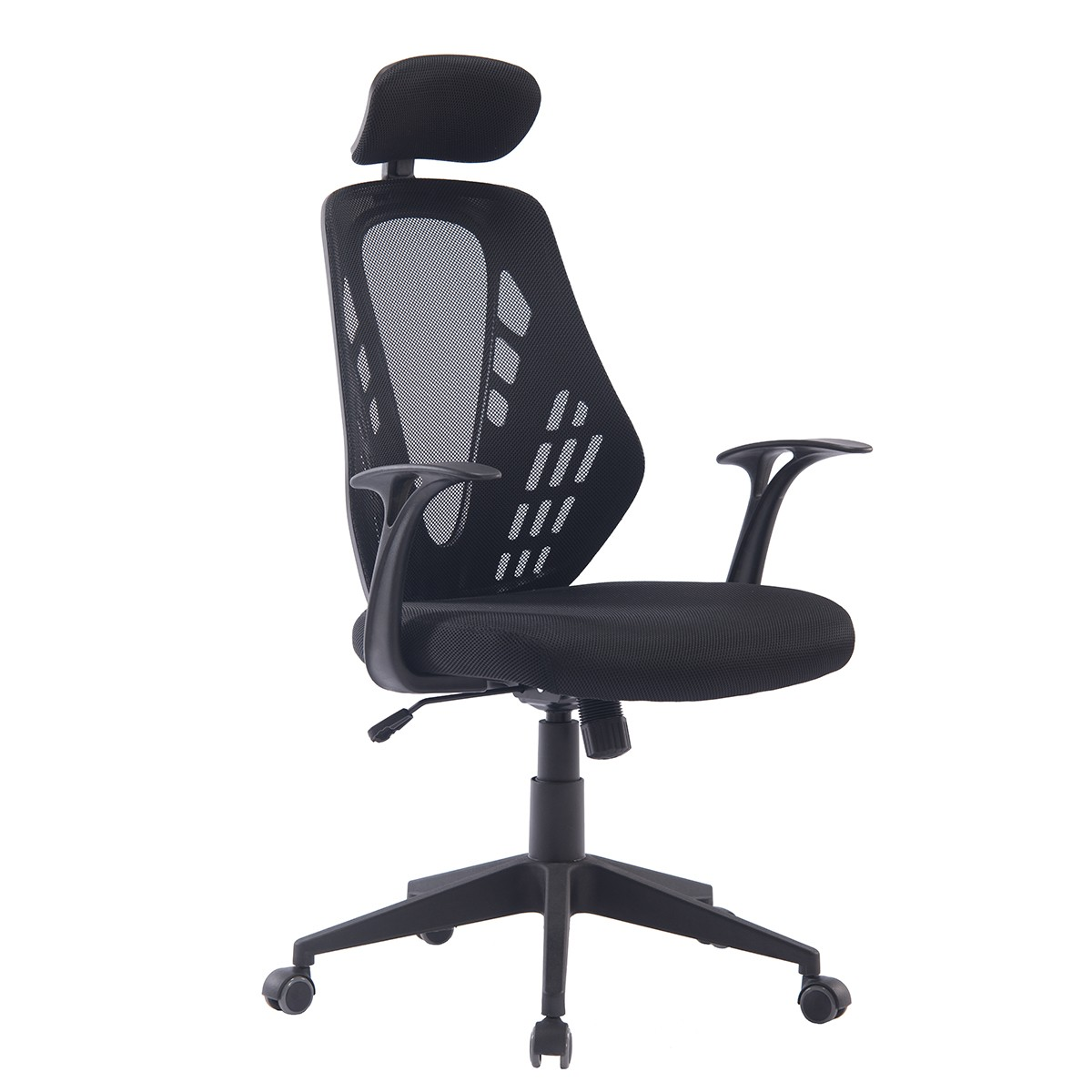 Office Armchair VELDEN, Gas, Rocker, Mesh And Black Fabric