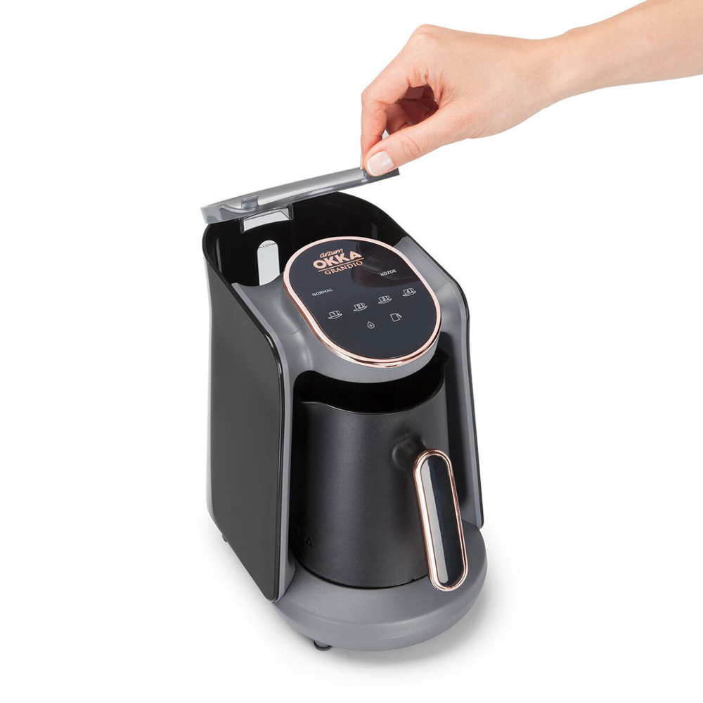 Máquina automática de café turco Arzum Okka Minio OK005, capacidad de 4 tazas (300 ML.) Cafetera lavable, sistema de alerta de sonido
