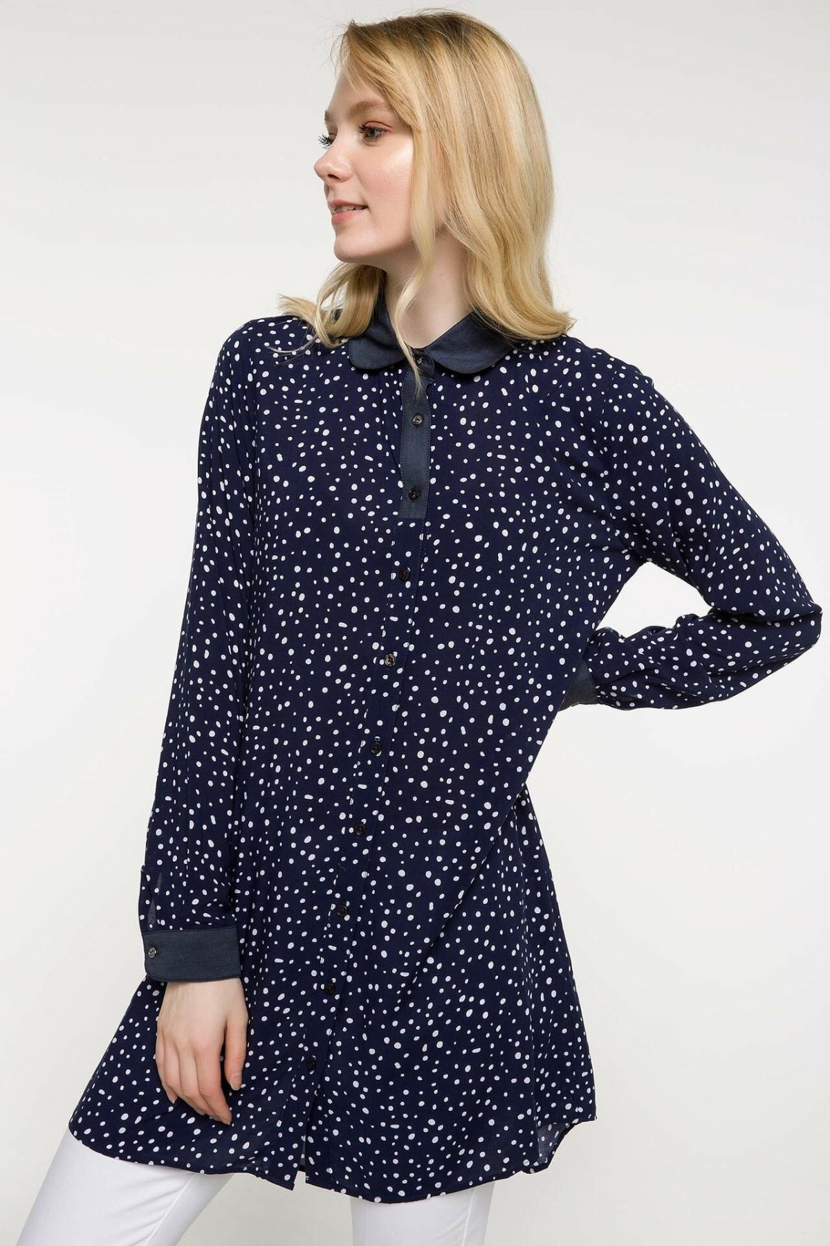 DeFacto Women Summer Navy <font><b>Blue</b></font> Chiffon Blouse Women Casual White <font><b>Polka</b></font> <font><b>Dot</b></font> <font><b>Shirts</b></font> Female Long Sleeve Woven Tunic -I1738AZ18SM image