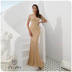 NEW 2020 St.Des Mermaid V-Neck Russian Black Wine Champagne Beading Mid-sleeve Designer Floor Length Evening Dress Party Dress