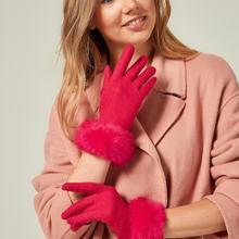 Пушистые шерстяные перчатки цвета фуксии 9694