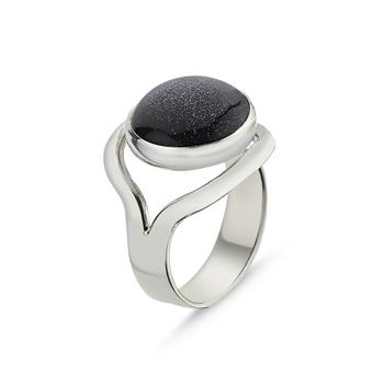 Silver 925 Sterling Blue Star Stone Handwork Ring