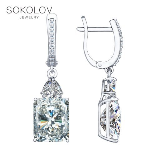 SOKOLOV Drop Earrings With Stones With Stones With Stones With Stones With Stones With Stones With Stones Long Silver With Cubic Zirconia Fashion Jewelry 925 Women's Male
