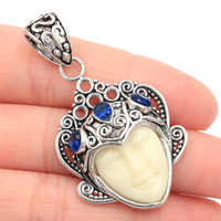 50x28mm Special Big 11.0g Goddess White Face Tanzanite SheCrown Gift Silver Pendant 50x28mm