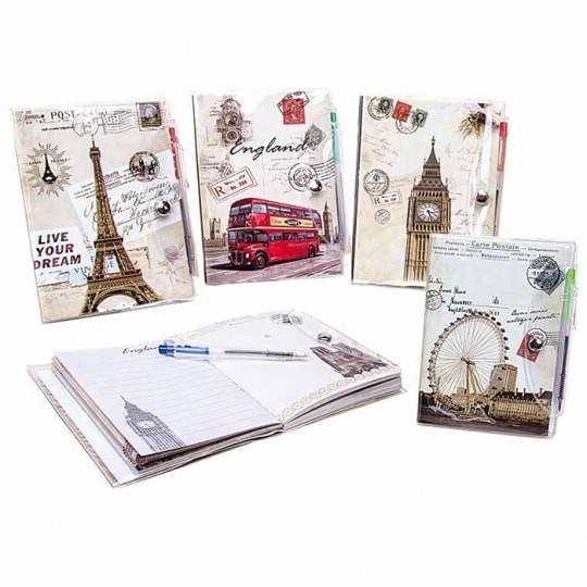 Lot 10 Notebooks Notes With BOLI Postcard Retro-Details And Gifts For Weddings, Christening Suits, Communions, Birthday And Holiday.