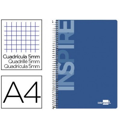 SPIRAL NOTEBOOK LEADERPAPER A4 MICRO INSPIRE HARDCOVER 160H 60 GR TABLE 5MM 5 BANDS 4 HOLES COLOR BLUE