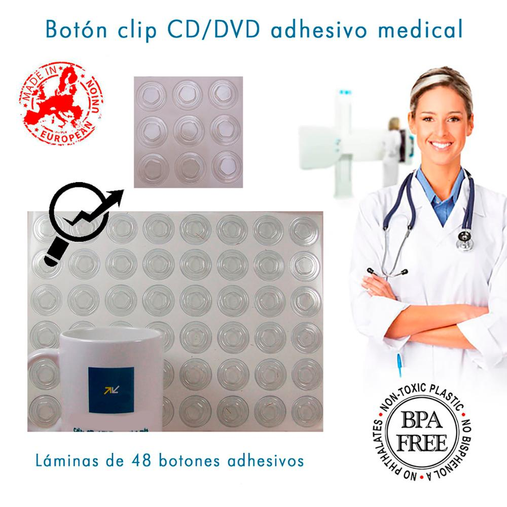 Button Clip CD/DVD Adhesive Medical Subject CD/DVD Package White 1008 UD. (48 Units By Foil Shaver) FREE SHIPPING