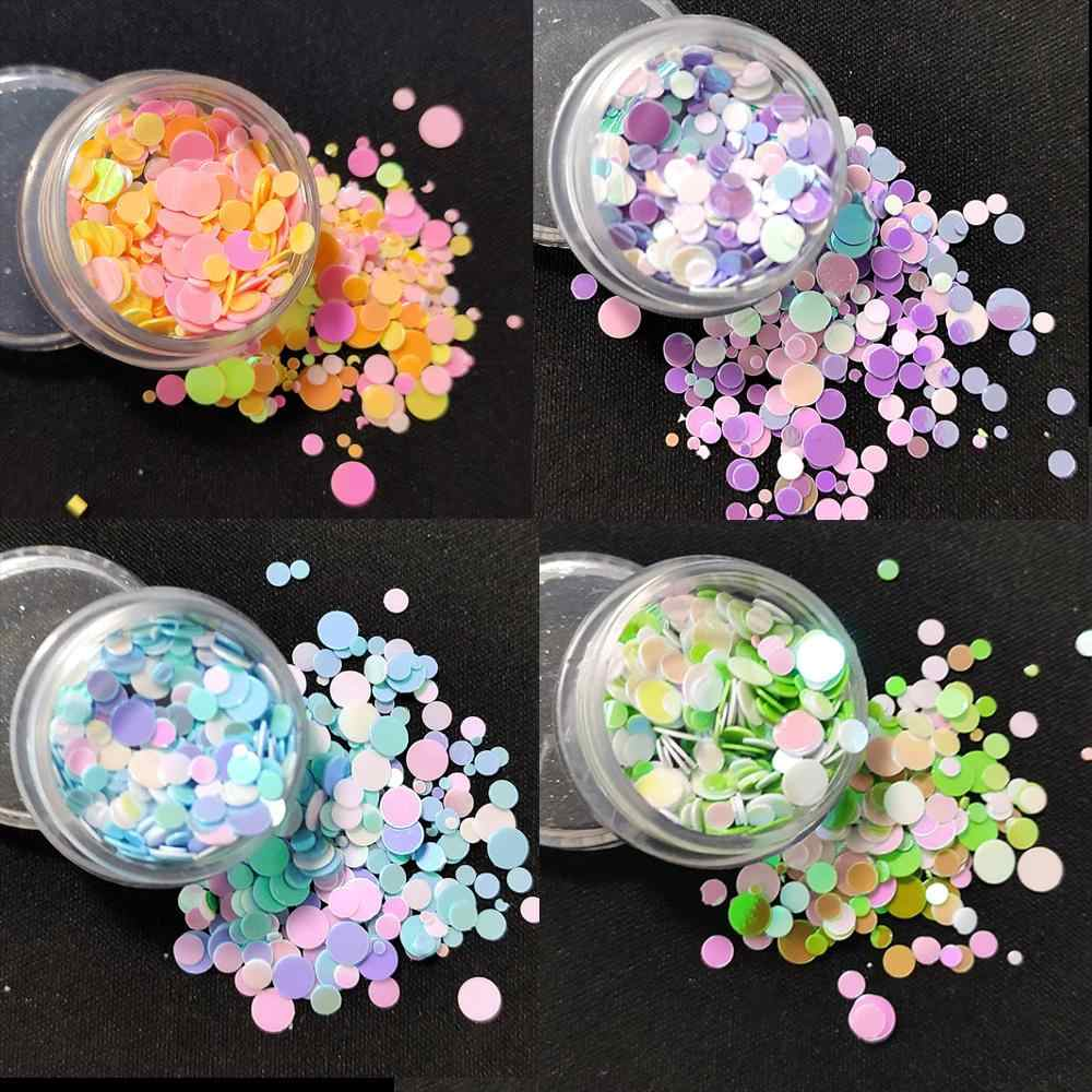 1Box Charms Nail Decorations Ronde Vlok Mermaid Paillette 3D Nail Art Sequin Dot Gemengde Accessoires Diy Glitter Supply Beleshiny
