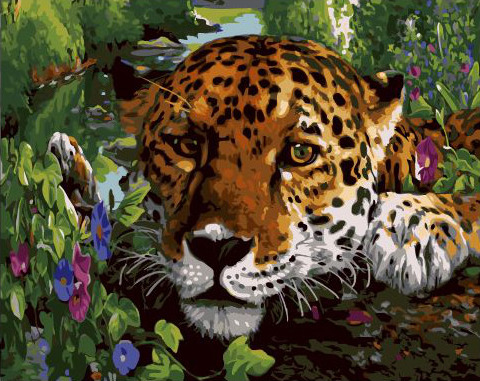 Painting By Numbers GX 32661 Leopard Among Colors 40*50