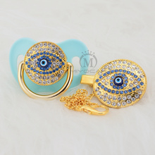 MIYOCAR unique evil eye bling pacifier and clip set BPA free FDA pass safe idea gift for baby design