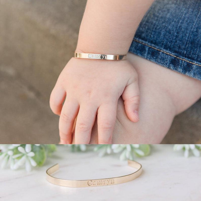 Personalized Baby Toddler Name Bracelet & Bangle Stainless Steel Engraved Heart Flower With Letter Bracelet Kids Custom Jewelry