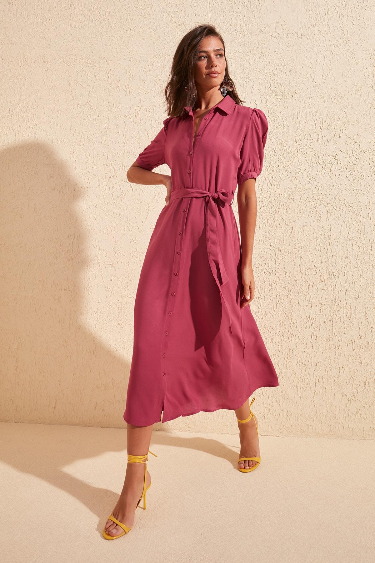 Trendyol Belted Shirt Dress TWOSS20EL1788