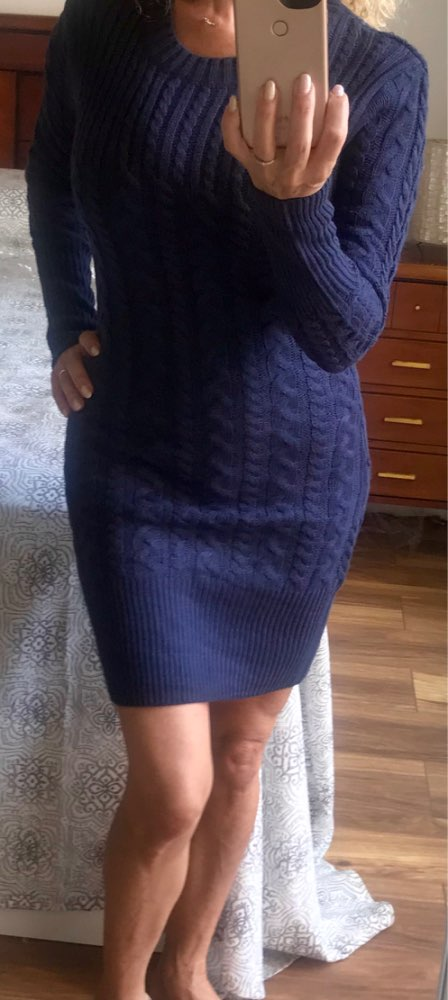 Autumn Winter Warm Sweater Dress Women Sexy Slim Bodycon Dress Female O Neck Long Sleeve Knitted Dress Vestidos photo review