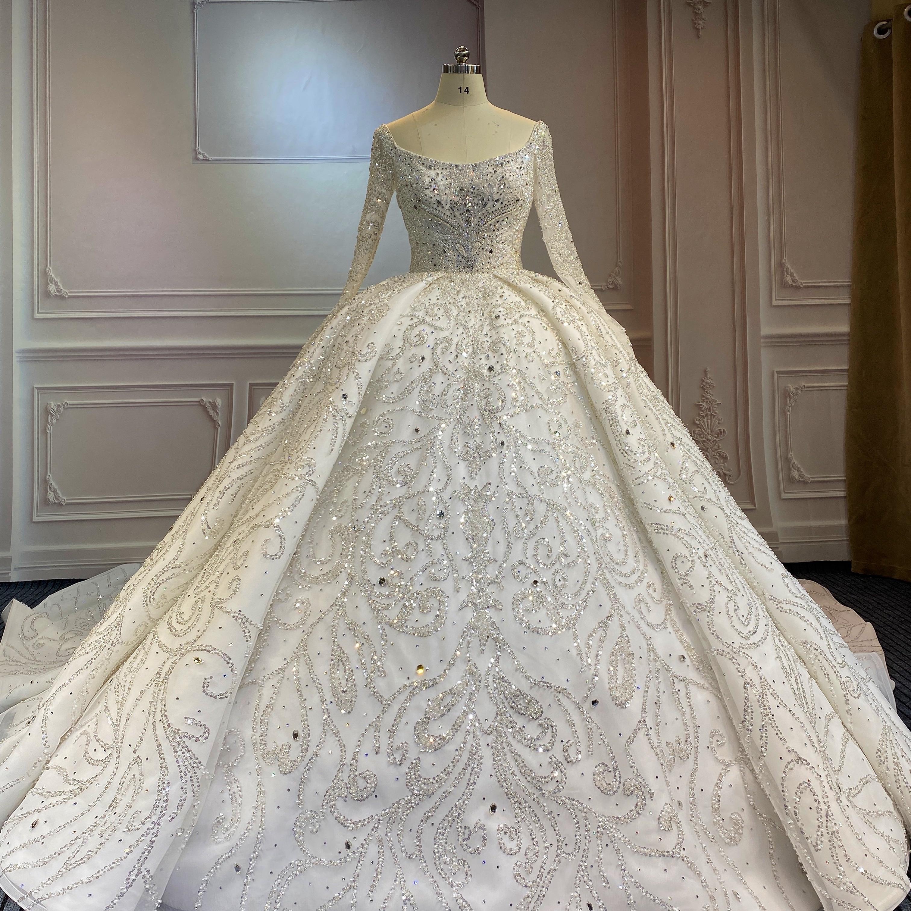 Marnham Luxury Wedding Dress Bridal Dresses Off the Shoulder Ball Gown Long Trail Full Sleeves