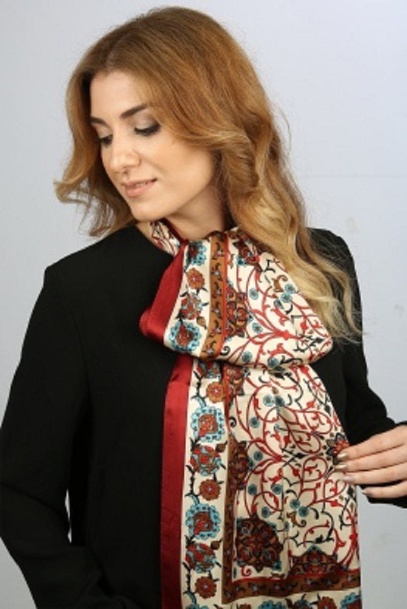 Made In Turkey %100 Pure Silk Scarf Shaw Burgundy Authentic Turkish Patterned Women Long Scarves Neck Scarf Foulard Kerchief