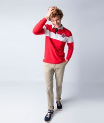 POLO GOOSE STRIPE long sleeve Polo Navy YELLOW Red color for men BRANDED