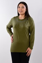 Women's Large Size Fronting Stone Green Blouse 416