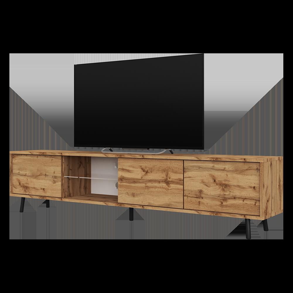 SELSEY GALHAD - Meuble tv / Meuble de salon - 175 cm - chêne wotan 3