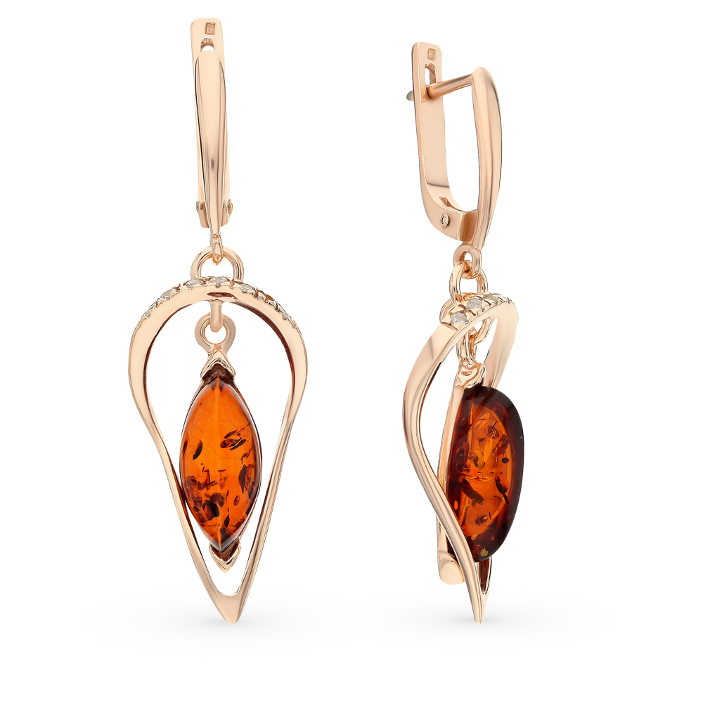 Silver Earrings With Cubic Zirconia And Amber Sunlight Sample 925 Jewelry Set