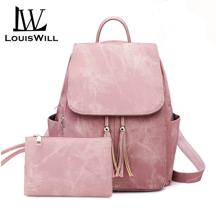 LouisWill Fashion Backpacks Women Shoulder Bags Waterproof Bags PU Daypacks Shoulder Backpacks Lightweight School Bags