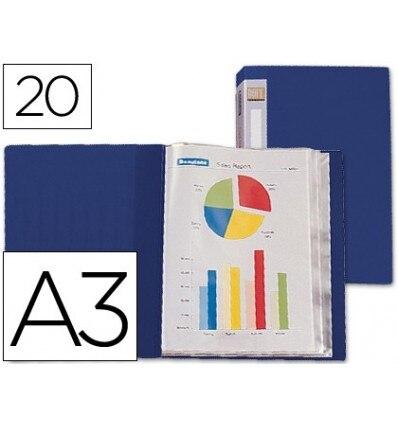 WALLET BEAUTONE SHOWCASE 31312 20 CASES POLYPROPYLENE DIN-A3 BLUE-LOMO CUSTOMIZABLE