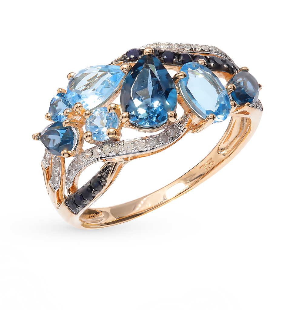 Gold Ring With Sapphire, Topaz And Diamonds SUNLIGHT Test 585