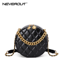 NEVEROUT Chain Circle Shoulder Bag for Women Leather Crossbody Bag with Handle Quilted Style Elegant Ladies Messenger Handbags