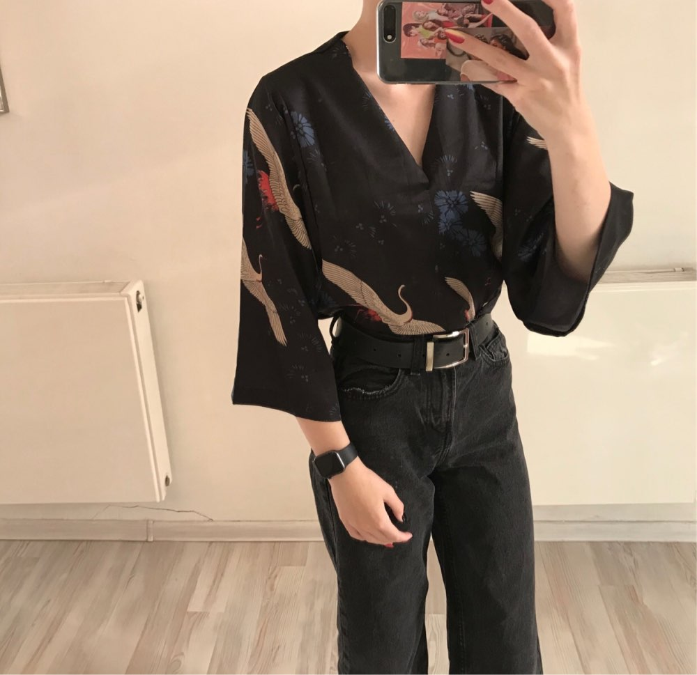Women'S Blouses Clothes Japan Kawaii Ladies Retro Summer Style Vintage Crane Blouse Female Punk Harajuku Cute Tunic For Women photo review