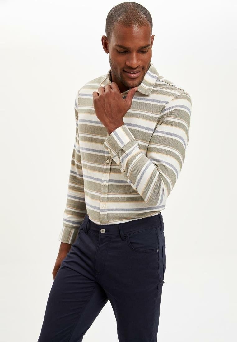 DeFacto Fashion Lapel Collar Men Casual Striped Shirt Long Sleeve Simple Pockets Shirts Male Top Shirt-J8824AZ19SM