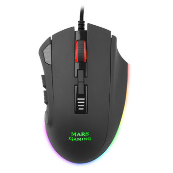 Mars Gaming MM418, Mouse Gaming PC, black, optical Sensor Pixart 3389PRO 32000DPI, lighting Chroma RGB,12 Buttons programmable