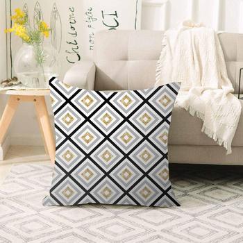 Sonst Grau Gelb Schwarz Fliesen Geometrische Linien 3d Print Sofa große kissen fall Boden kissen deckt Versteckte Zipper 70x70cm|Kissenbezug|   -