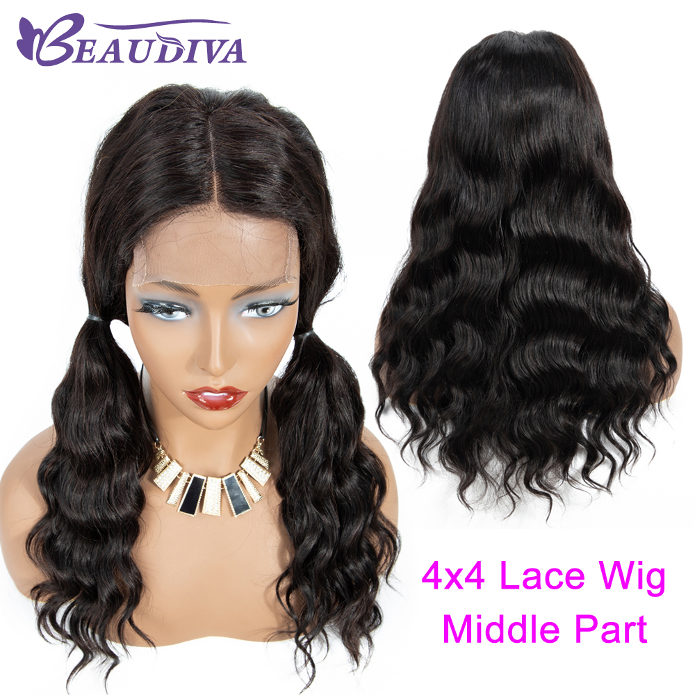 Image 5 - Body Wave Human Hair Wigs For Women Pre Plucked Brazilian Body Wave Middle Part 4*4 Lace Closure Wig Bleached Knots Baby Hair-in Lace Front Wigs from Hair Extensions & Wigs