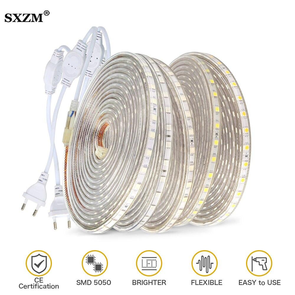 Led Strip Tape AC220V SMD 5050 Flexible led lights Stripe 60 leds/Meter Waterproof For Outdoor garden Kitchen cabinets lighting