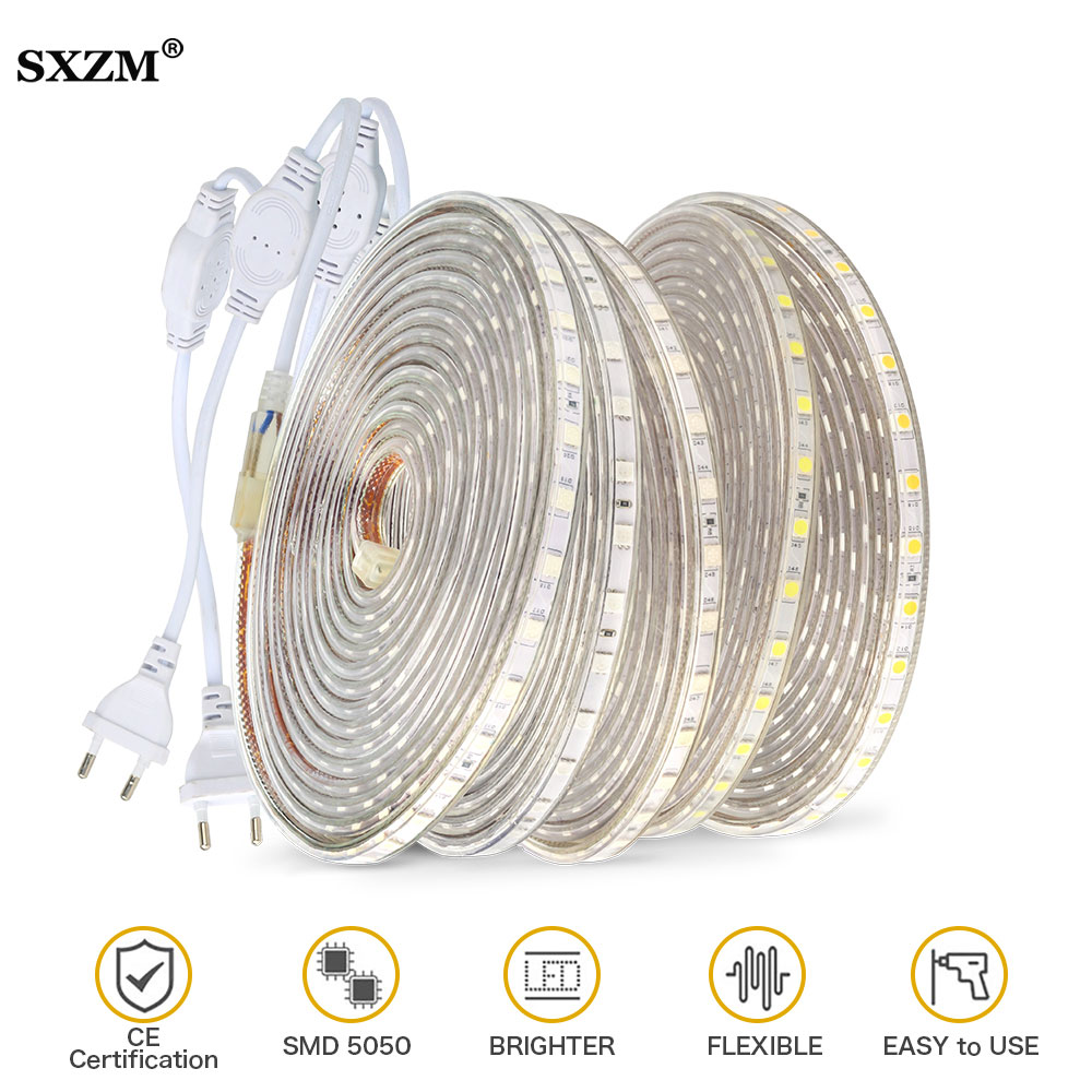 Waterproof SMD 5050 led tape AC220V flexible led strip 60 leds/Meter Outdoor garden Kitchen cabinets lighting with EU plug