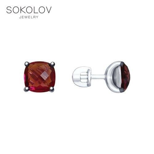 Pusety SOKOLOV Of Silver With Swarovski Crystals Fashion Jewelry 925 Women's Male