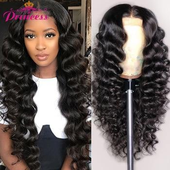 HD przezroczysta koronkowa peruka brazylijska luźna peruka z mocnymi lokami dla kobiet koronkowa peruka z ludzkimi włosami wstępnie oskubane Remy piękna księżniczka