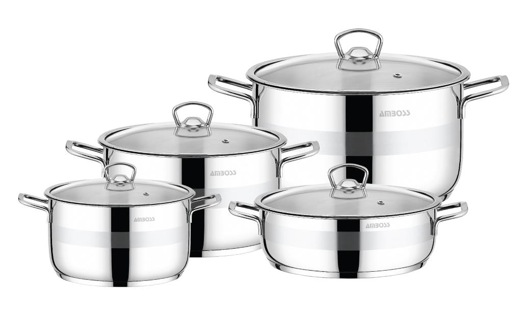 Amboss Saphire Cookware Set,Steel Capped,8 pieces,Stainless Steel,2 years guaranteed, steel Capsule Base,For all oven types