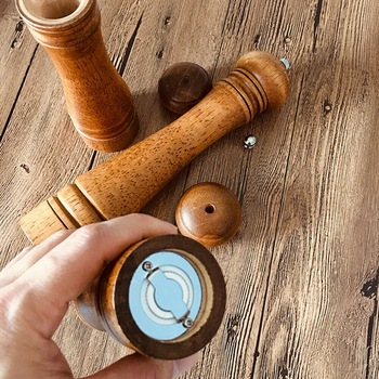 10 PCS Salt And Pepper Grinder Hand Movement Oak Wood Pepper Mill Cooking Kitchen Tool