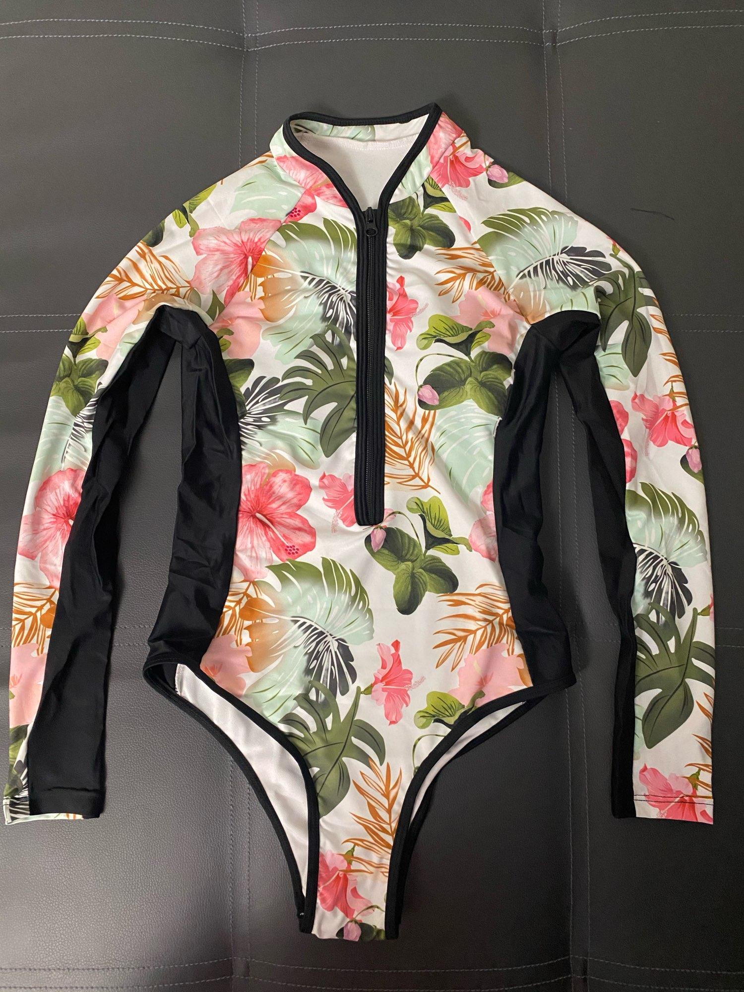 Print Floral One Piece Swimsuit Women Swimwear Monokini Long Sleeve Printed Female Bathing Suit Surfing Bodysuit Swim Wear Beach beach swimming swimwear swimmingbeach wear - AliExpress