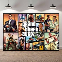 gta 5 Grand Theft Auto Game Banner Fan Club Photo Backgrounds Studio Photography Backdrops Birthday Banner Photocall